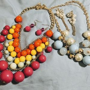 Multi Colored Statement Necklace & Earing Lot 4 pc